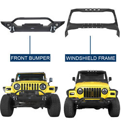 Black Windshield Frame Cover Armour + Front Bumper For Jeep Wrangler Tj 97-06