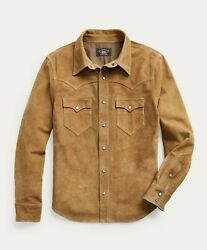 Rrl Tan Suede Western Leather Jacket Overshirt Men's Small S