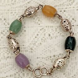 Chinese Symbol 925 Sterling Silver Barrel Beads And Multi Color Stones Bracelet