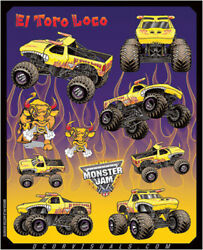Dcor 40-90-208 Monster Jam Decal Sheets Graphic - Style El Toro Loco Yellow