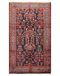 5'7 X 10'1 Antique Hand Knotted Wool Lilihaan Oriental Area Rug Midnight Blue