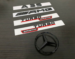 For Mercedes Emblem Star Boot Trunk A35 Sedan Amg Turbo 4matic Glossy Black Red