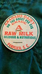 Scarce Grahams Dairy Raw Milk Bottle Cap Pamplico Sc On The Great Pee Dee River