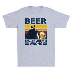 Black Cat With Knife Beer Because Murder Is Wrong Funny Vintage Menand039s T-shirt
