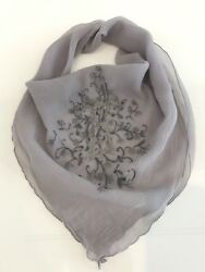 Vintage Custom Gray Silk Square Scarf Hand Embroidered Letter Initial E