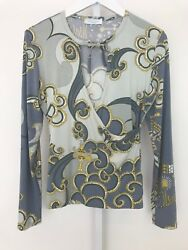 Emilio Pucci Multi Colored Faux Wrap Tie Long Sleeve Top 66ro08 Size Large