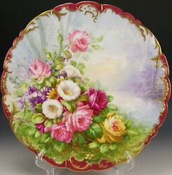 Magnificent Limoges France Hand Painted Roses Charger Artist Signed P.p
