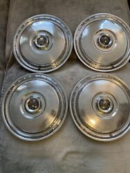 """Lot Of 4 - Vintage 1955 Ford Fairlane/thunderbird 15"""" Hubcaps"""