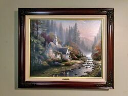 Very Rare Thomas Kinkade Forest Chapel - Sold Out P/p Canvas