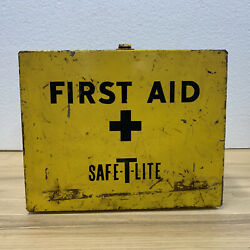 Vintage Wall Hanging Safe T Lite Yellow First Aid Box 1960s Industrial Metal