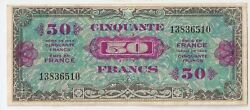 France 50 Francs 1944 Military Currency Wwii High Grade