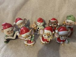 Vintage Homco Christmas Figurine Lot Of 8 - Knome Elves Mice Racoon