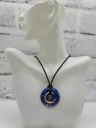 Moon And Cat Beautiful Lampwork Glass Art Donut Necklace Great Gift S22s2 Retro