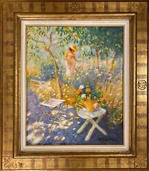 Claude Fossoux Oil On Canvas Authentic Painting And Signed 74x85 Cm With Frame
