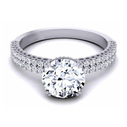 Coupe Ronde 0.90 Ct Platine Real Diamond Engagement Ring Pour Femme Taille M N O