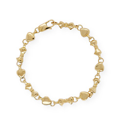 Auth And Co 18k Yellow Gold Heart And Bow Tie Bracelet Size 6.5