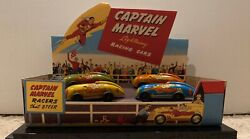 Vintage 1947 Captain Marvel Lightning Race Cars Set Of 4 With Repro Display Box