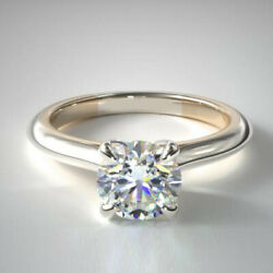 050 Ct Coupe Ronde Real Diamond Engagement Ring 14k Solide Or Blanc