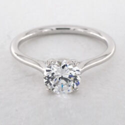 0.50 Carat Round Real Diamond Engagement Rings Solid 950 Platinum Size 5.5 6 7 8