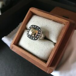 James Avery Antique Beaded Silver And Gold Square Ring, R-1232-a, Sz6