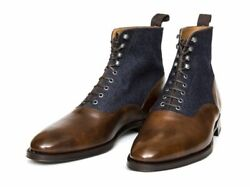Men Two Tone Ankle Boots Brown And Blue Good Year Welted Casual Boots For Men