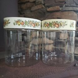 Vintage Pyrex Spice Of Life Glass Storage Canister Jars Lot Of 2 Stack'n See