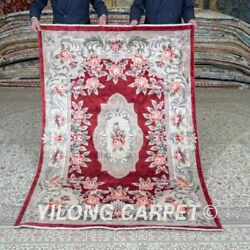 Yilong 4'x6' Handknotted Silk Carpet Red Flower Home Interior Area Rugs Mc451b