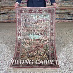 Yilong 2.5and039x4and039 500 Lines Handwoven Silk Rug High Density Exquisite Carpet Mc471h