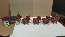 Vtg 8 Cast Iron Clydesdale Horses With Carriage And 1 Driver / Budweiser Wagon