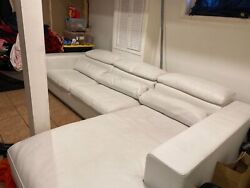 Roche Bobois Andnbspwhite Two Piece Sectional Sofa Couch Cheap Modern