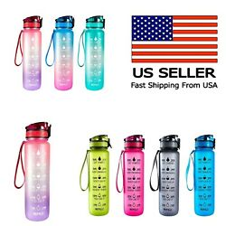 Sports Motivational Drinking Water Bottle With Time Marker 32 Oz Bpa Free