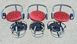 3 Iron Counter Stools Style Of Mulhauser For Plycraft Sultana - Set Of Three