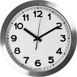 12quot; Large Aluminum Decorative Wall Clock Non Ticking amp; Silent Utopia Home
