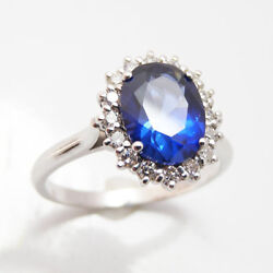 Solid 14k White Gold Band 3.48 Ct Real Diamond Blue Sapphire Ring Size 5 6 7 8
