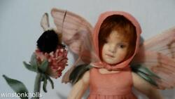 Rare 2010 R. John Wright Red Clover Fairy With Bee Flower Fairies Collection