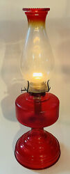 P And A Rasdon Mfc Co Red Clear Glass Oil/kerosene Lamp W Chimney Victorian Usa