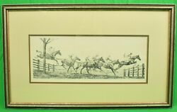 New Jersey Hunt Cup C1930 Drypoint By Paul Brown Signed
