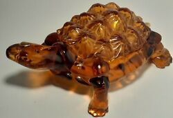 Vintage Large Turtle Wright Glass Covered Candy Dish, Amber Mid Century 1940's