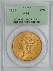 1899 20 Gold Liberty Ms61 Green Label Pcgs 943819-5