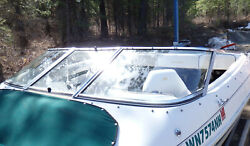 1998 Larson Sei 206 Curved Boat Windshield - Complete - As Pictured