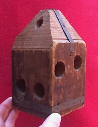 Antique 19th C. Carved Wood Treen Fishing Float Or Block For Nets