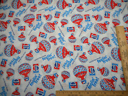 Vintage Fabric By Half Yard Pepsi Cola Feelin Free Balloons Cotton 1970s RARE