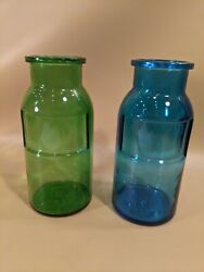 Pair Of Blue Green Vintage Glass Canister Jars Apothecary Wheaton Bottles
