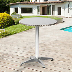 Aluminum Outdoor Dining Table Patio Garden Round Desk Bbq Party Bar Bistro Pool