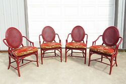 Set Of 4 Mcguire Louis Xvi Dining Chairs Double Cane Back Bamboo Rattan Vtg Boho