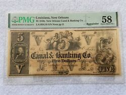1840s New Orleans Canal And Banking Co. 5 Five Dollar Bill Pmg Certified