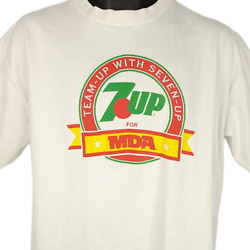 7 Up For Mda T Shirt Vintage 90s Muscular Dystrophy Assoc Made In Usa Size Large