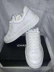 Cha Nel Spelled Out White Leather Cc Kick Sneakers Trainer 42 10.5 11 Us