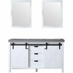 Lexora Home Marsyas 60 Quartz Top Double Vanity With Sinks And Mirrors In White