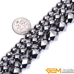 Natural Faceted Gemstone Black Shine Terahertz Round Beads For Jewelry Making